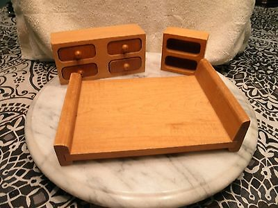 Vintage Mid Century Modern Doll House Wooden Bedroom Furniture