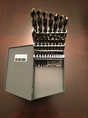 DRILL BIT SET/USA 29pc Set.  Jobber Length Black Gold USA MADE Great Quality