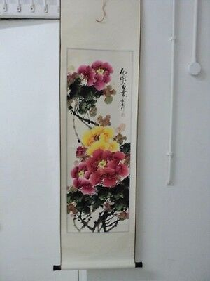 Large Original Vintage Japanese Scroll  Painting- Signed