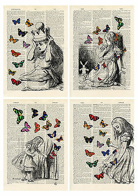 4 Alice In Wonderland Butterfly Book Style Prints - Card Toppers / Party Props