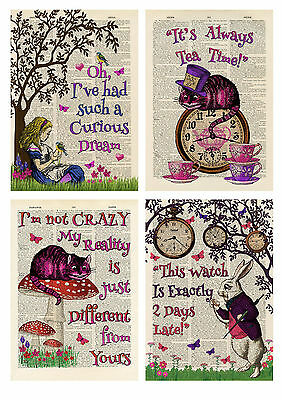 4 Alice In Wonderland Book Style Prints - Card Toppers / Party Decoration Props