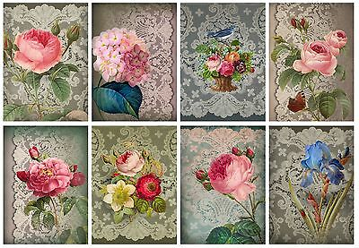 Lace & Flowers Shabby Chic Card Toppers / Scrapbooking / Crafting / Card Making