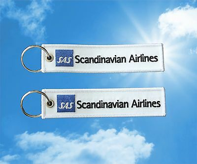 2pcs SAS Scandinavian Airlines keychain luggage baggage Tag Blue