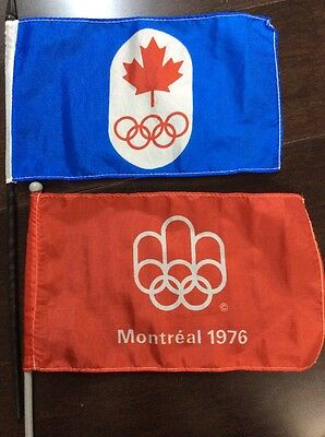 "Pair Of 1976 Montreal Olympics 6""x10"" Flags. Excellent Condition"