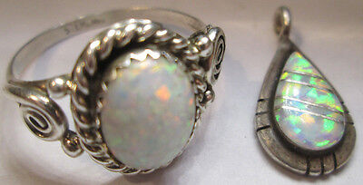 FIREY OPAL Mounted in Sterling Silver, Pendant & Ring set