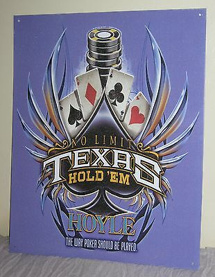 "Hoyle TEXAS HOLD'EM Metal Sign 15""X 12"" Cards Poker Chips Spade #AR03"