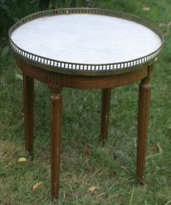 antique round marble top side table, Hollywood Regency style with brass gallery