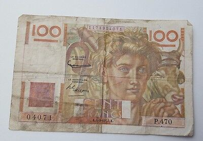 Vintage - France - 100 Francs - Banknote - Dated 1952 - Paper Money Bank Note
