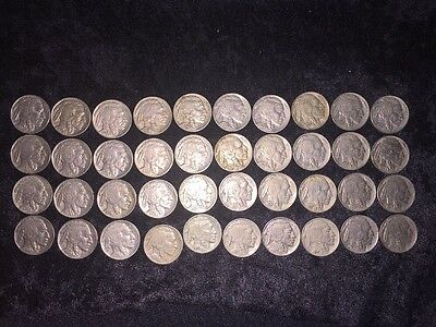 1927-1937 Buffalo Nickels, Mixed dates 1929 S and others, lot of 40, roll