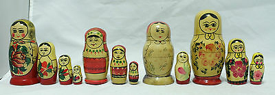 4 Sets of Vintage Nesting Dolls - Made in USSR/Russia - 12 Dolls in Total