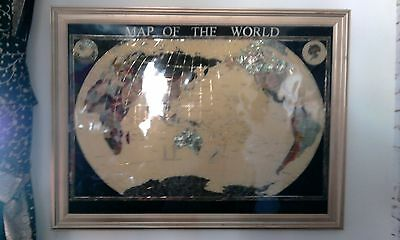 Large semi-precious stone framed wall hanging map of the world