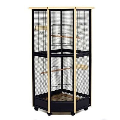 LITTLE FRIENDS Tall All Metal Corner Aviary Cage - Great For Birds, Rats