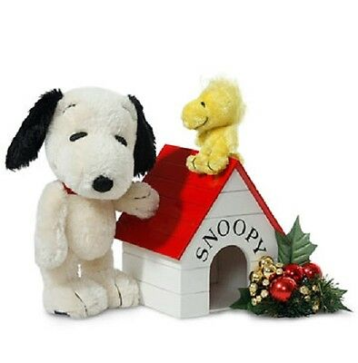 """9.5"""" SNOOPY & 3"""" WOODSTOCK w/Wooden Doghouse - MOHAIR, JOINTED Limited Ed - NEW!"""