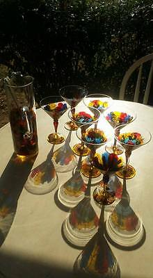 Martini/Cocktail Glasses w/ Pitcher  Mouth-blown Red Green Gold Christmas Gift!
