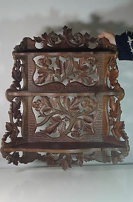 Antique Black Forest Large Carved Wood Shelf Leaves and Flowers Ornement