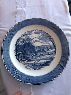 "Vintage Currier Ives Blue Royal China Getting Ice 12"" Round Serving Chop Platter"
