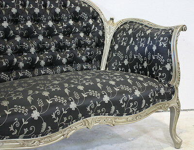 French Antoinette mahogany love seat in silver finish