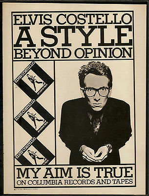 ELVIS COSTELLO My Aim Is True Vintage AD 1978 FRAMED.