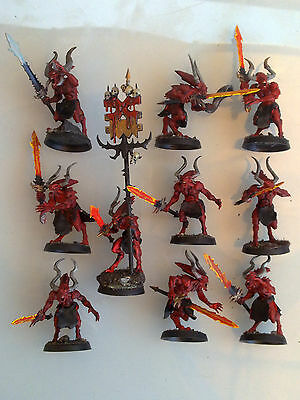 Chaos Daemons - Bloodletters of Khorne x10 w/ Command Group, Painted CD33e