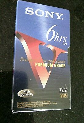 Sony Premium Grade Blank 6 Hour VHS Video Tape 120 Factor New Sealed T120 Color