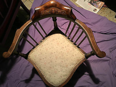 Edwardian Mahogany and Inlaid Corner Chair 1900 Reduced By £100
