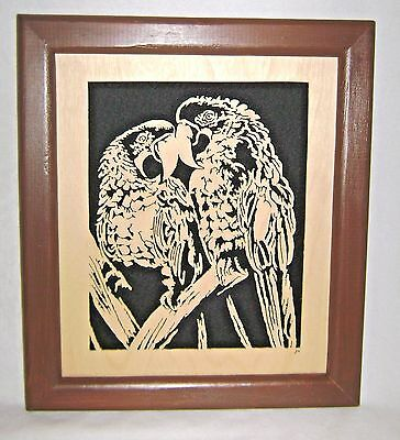Pair of Parrots Framed Scroll Saw Art