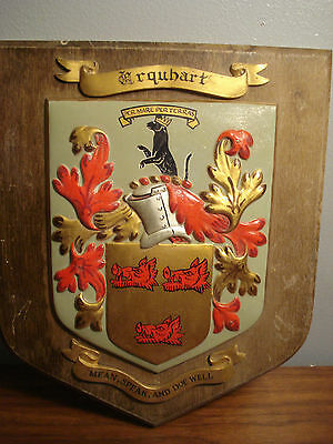 Vintage Shield Crest Boars Head Made in Great Britain - Wood Base wall plaque