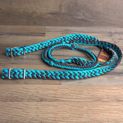 """HILASON BRAIDED POLY BARREL RACING CONTEST REINS FLAT 1"""" X 8FT Teal/Brown"""