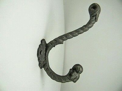 Cast Iron Hook, Twisted Rope Hook, for Coats, Hats, Robe, Clothes, Purse, etc.