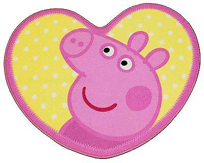 Peppa Pig Adorable Kids Rug Mat Girls Pink Character Bedroom Heart Shaped 64x84