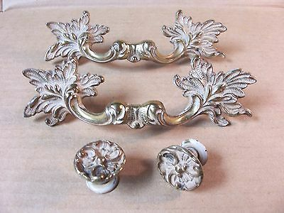 (2) Vintage French Provincial Drawer Pulls / Handles & (2) Matching Knobs - W/or