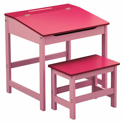 Children Writing Reading Study Room Pink Wooden Desk Stool Table Set Girls Seat