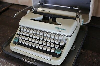 Vintage Olympia Monica Cased Portable Typewriter Green Cream Germany