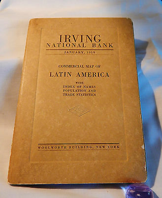 Vintage January 1919 Commercial Map of Latin America
