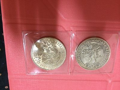 2pc 1968 mexico olympic game SILVER   coin