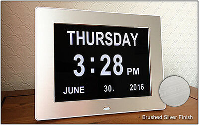 8 inch Dementia Alzheimers Calendar Clock Showing Full Day - Time - Date - Year