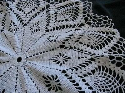 Vintage Hand Crochet Doily Pure White 43cm Shabby Chic