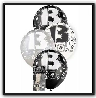 6 X 13th Birthday Balloons In Black Silver White Party Supplies Decorations
