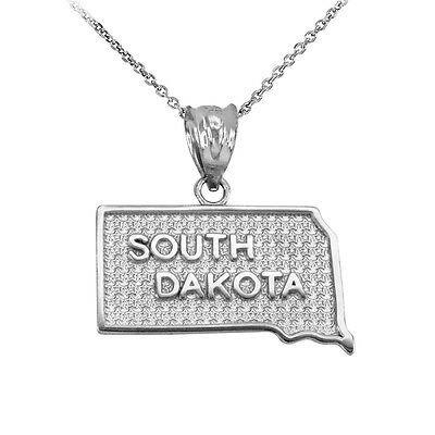 .925 Sterling Silver South Dakota State United States Map Pendant Necklace