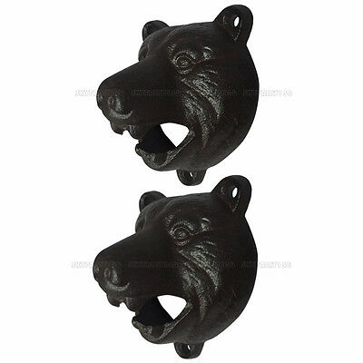 Cast Iron Wall Mount Grizzly Bear Teeth Bite Bottle Opener Pub Bar Wall Mounted