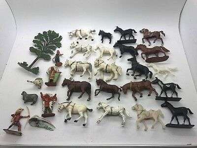 Britains Lone Star England Hong Kong Large Vintage Toy Lot Horse American Indian