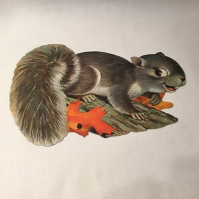 "Vtg 50's Dennison Squirrel w Acorn Fall Autumn Thanksgiving Die Cut 16"" HTF"