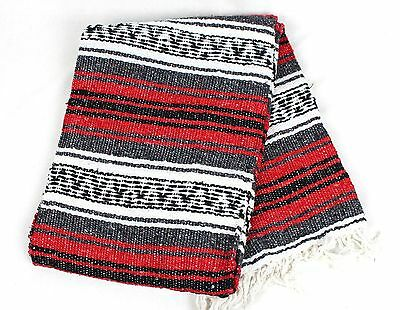Mexican Falsa Blanket In Red And Grey Theme Throw Mat Yoga Rug New Genuine