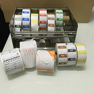 Day of the Week Food Label Dispenser with Labels for Catering, Restaurants, Bars