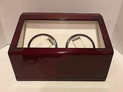 Watch Winder Storage Display Case 2 Automatic Rotate Wooden Box