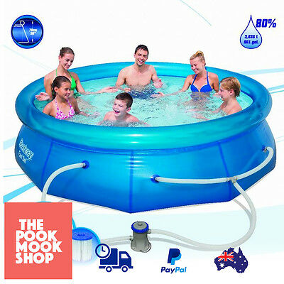 Inflatable Swimming Pool Fast Setup w/ Pump and Repair Patch 10ft