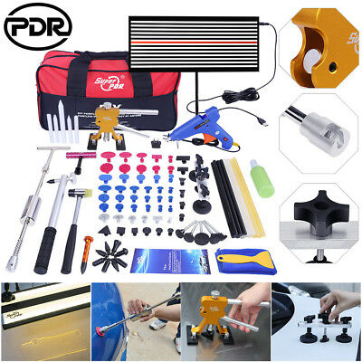 82× Paintless Hail Repair Dent Puller Lifter PDR Tools LED Light Glue Removal