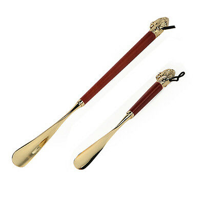 Long Exquisite High-grade Brass Mahogany lion Head Handle Shoehorn for gift