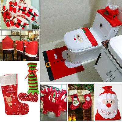 Christmas Santa Toilet Chair Cover Gift Bag Sock Party Dinner Table Decoration