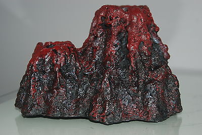 Aquarium Volcano with Red Led Lights and Airstone Rock 18 x 13 x 11cms